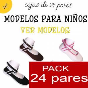 Modelos para Niños - Manoletinas NIÑO-NIÑA BEIGE atadas al tobillo Caja de 24 pares (Últimas Unidades)